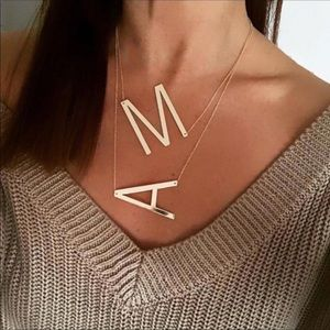 "Large Initial Letter ""M"" Rose Gold Necklace"